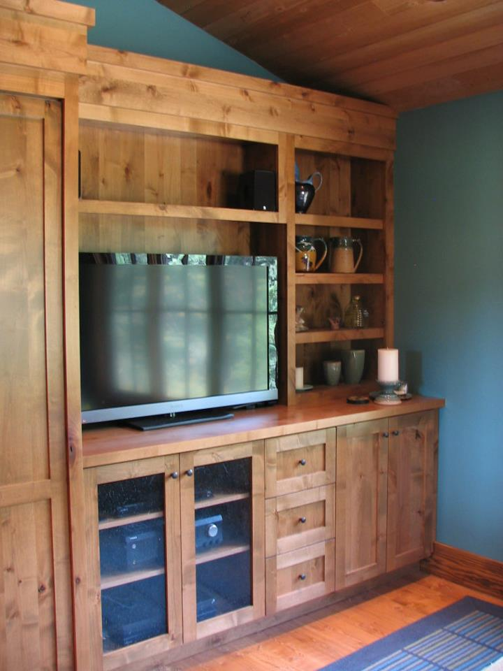 Custom knotty alder media center